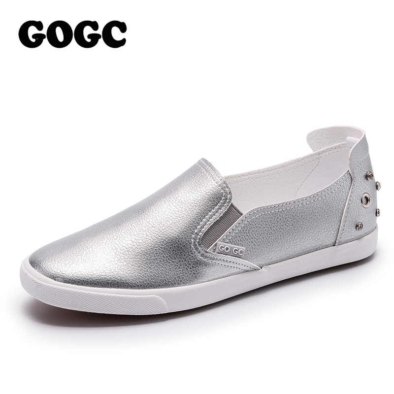 GOGC Studs Crystal Shoes Women Breathable Designer Shoes Women Luxury Canvas Shoes Women White Women Sneakers Casual Shoes G980