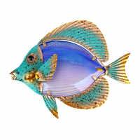 Wohnkultur Metall Fisch Kunstwerk für Garten Dekoration Außen Animales Jardin mit Farbe Glas für Garten Statuen und Skulpturen