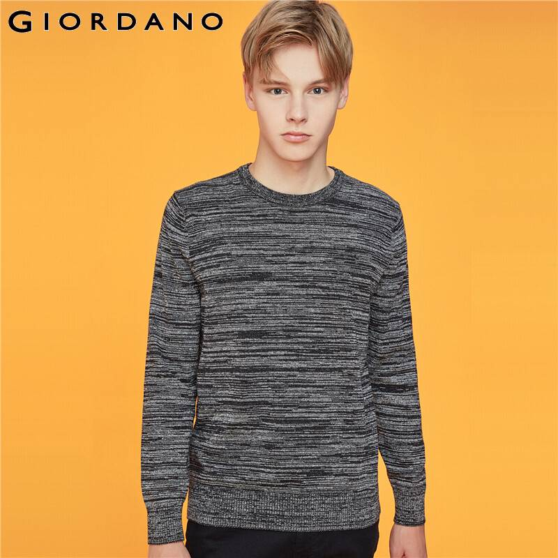 Giordano Men Sweaters Crewneck Long Sleeve Knitted Pullover Men 12 Needle Knitting Thin Blusa De Frio Masculino 01059878