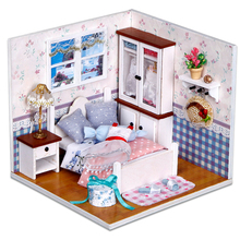 Warm Whispers Doll House DIY 3D Miniatures Furniture Dollhouse Toys Children Assemble Wooden Beach House With Led light For Gift цена и фото