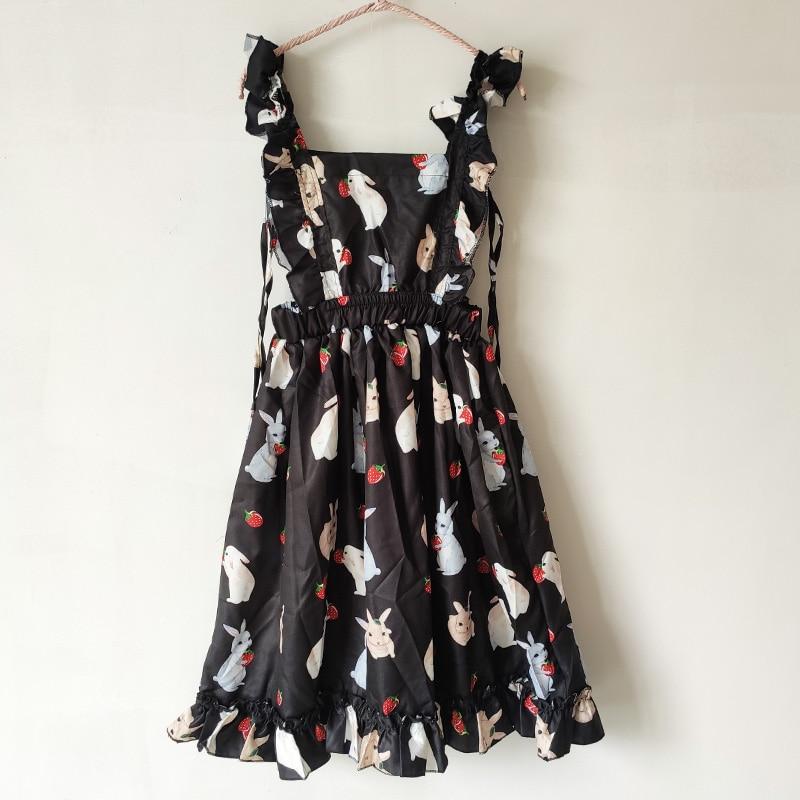 Women's Dresses Chic Lady Kawaii Ulzzang Strawberry Rabbit Cute Strap Dress Female Ins Vintage Harajuku Dress For Women Casual 8