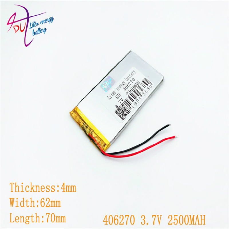 1pcs [SD] 3.7V,2500mAH,[406270] <font><b>406070</b></font> Polymer lithium ion / Li-ion battery for TOY,POWER BANK,GPS,mp3,mp4,cell phone,speaker image