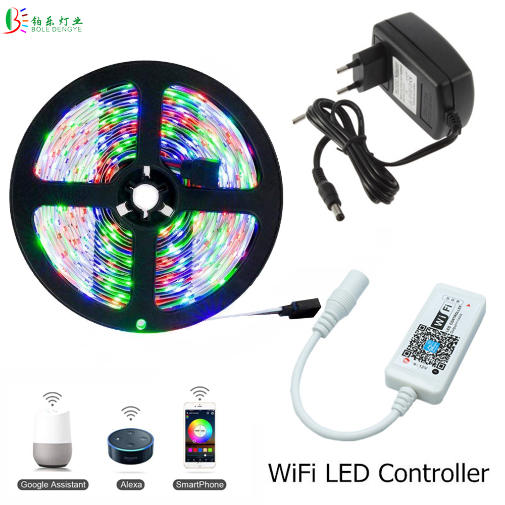 5m 10m Wifi RGB LED Strip Light SMD 3528 Non Waterproof Rope LedStrip +Smart WiFi LED RGB Controller +12V 2A 3A 5A Power Supply