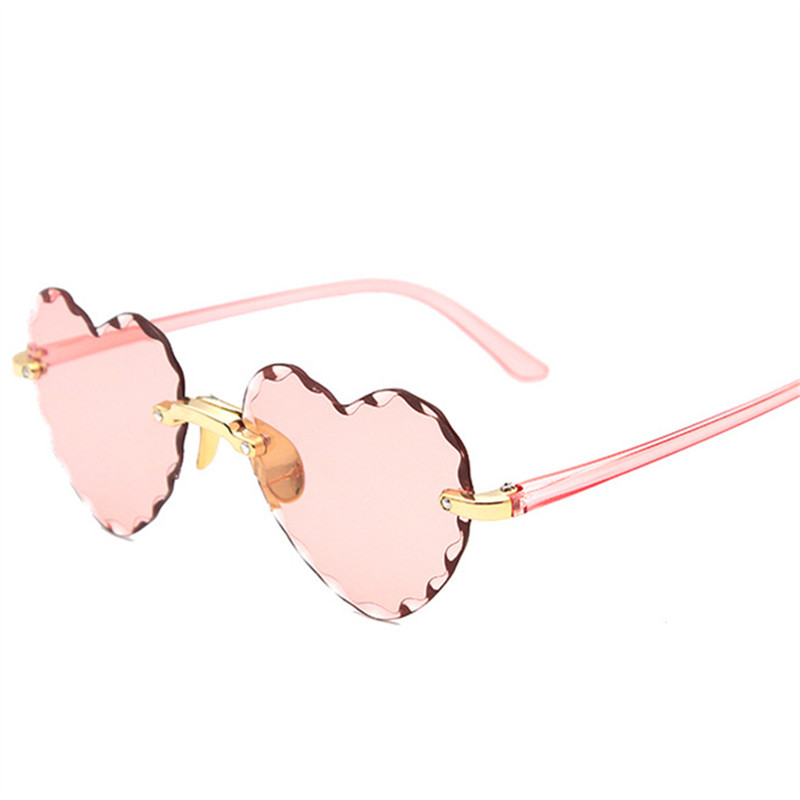 Women Rimless Sunglasses Fashion Heart-shaped Sun Glasses for Wome Vintage Cute 90s Gradient Shades Eyeglasses  UV400 11