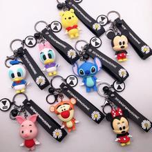 Disney Stitch Winni Mickey Mouse Keychains Cute Cartoon Baby Boy Girl Key Ring Women Lovely Bag Key Chain Monster Accessories