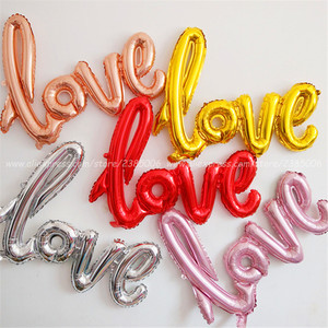 Ligatures Love Letter Foil Balloon Anniversary Wedding Valentines Birthday Party Decoration Champagne Cup Photo Props(China)