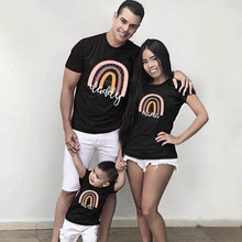 1pc Fashion Daddy Mama Mini Rainbow Print Family Matching Outfits Mother Father Baby Matching T-shirt Short Sleeve Family Clothe