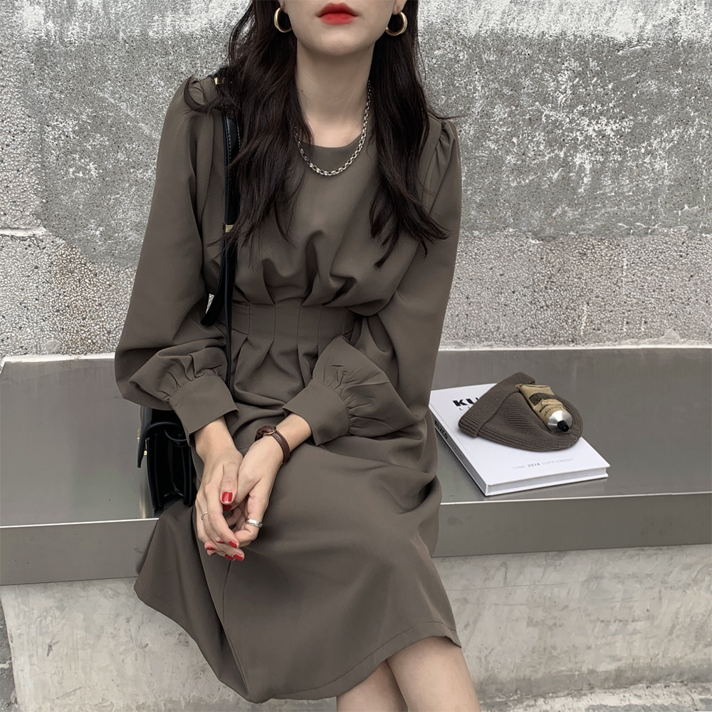 H0e21a6d848f74d8a93f218c1321dce50d - Autumn Korean O-Neck Long Sleeves Dark Solid Midi Dress