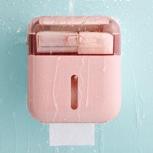 Image 4 - Organisateur de boîte de rangement pour salle de bain, plateau mural à support porte papier hygiénique pour papier toilette, boîte à mouchoirs étanche