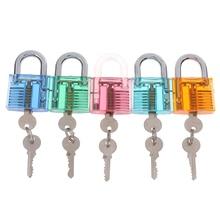 Transparent Visible Pick Cutaway Practice Padlock Lock With Broken Key Removing Hook Kit Extractor Set Locksmith Tool