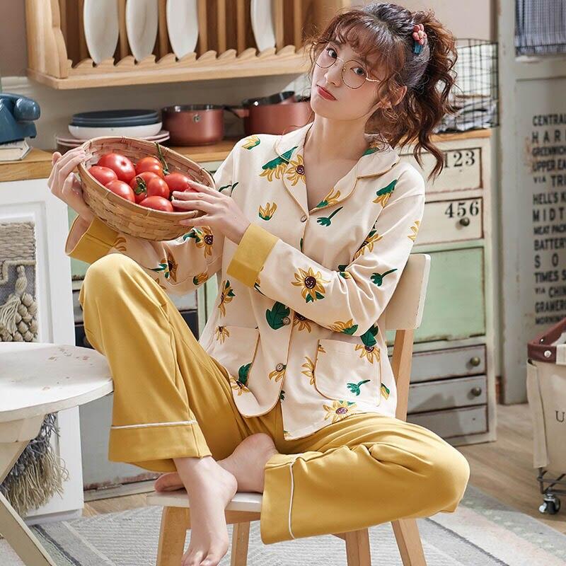2Pcs Ladies   Pajamas     Set   Cartoon Printed Sweet Sleepwear Women Autumn Loose Long Sleeve Comfort Cotton Cardigan+Pants Homewear
