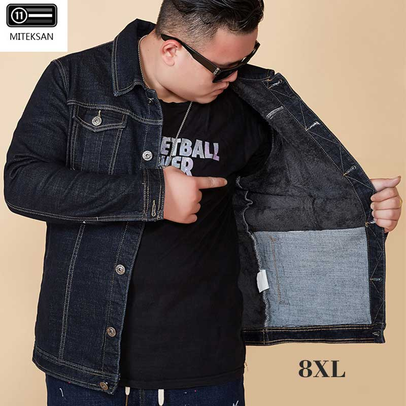 MITEKSAN 8XL Denim Jacket Men'S Black Plus Velvet Thicken Winter Large Size Loose Male Clothing Vintage Bomber Coat 2019 Homme