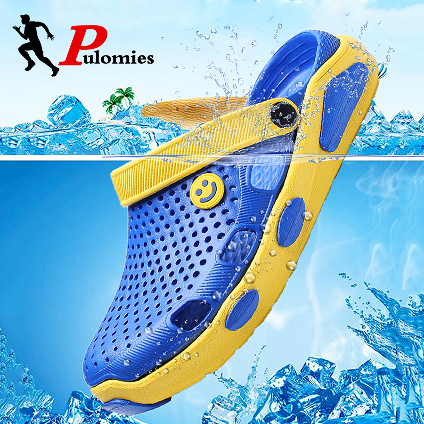 PULOMIES Summer Men Sandals Men Slippers Casual Home Slippers Quick Dry Hole Clogs Garden Shoes Beach Sandals  Bathroom Slippers