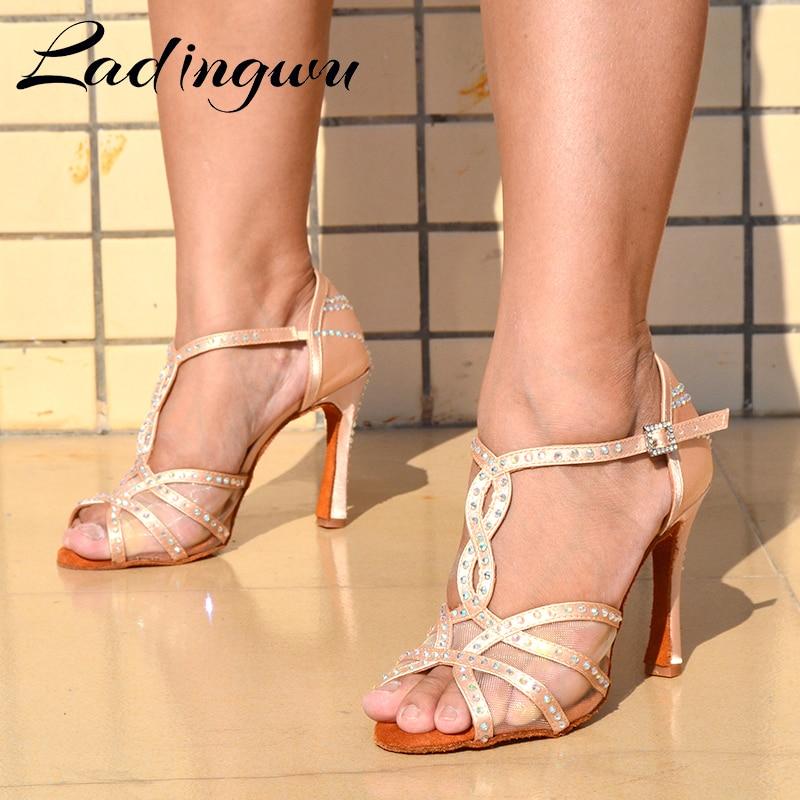 Ladingwu Dance Shoes Women Party Dance Shoes Skin Color Satin Mesh Shining Rhinestones Salsa Dance Shoes Sandals Cuban Heel 10cm