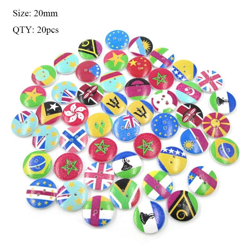 20 шт деревянные пуговицы для рукоделия, аксессуары для скрапбукинга, декорации, botones de madera para manualidades - Цвет: K33