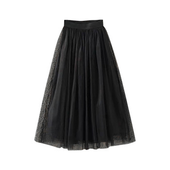 Womens Pleated Tulle Mesh Elastic High Waist Casual A-Line Long Skirts юбка женская  ropa mujer skirts womens юбки женские 2