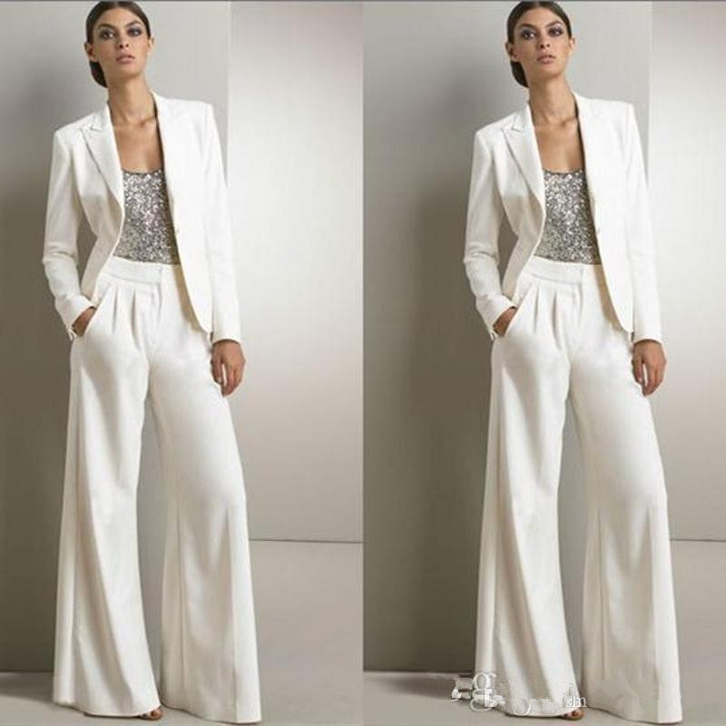 Modern Three Pieces Mother Of The Bride Pant Suits For Silver Sequined Wedding Guest Dress Plus Vestido De Madrinha With Jackets