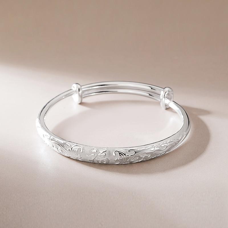 SA SILVERAGE S999 Silver 26.8g 57x57mm Dragon and Phoenix Bracelet Female Sterling Silver Jewelry For Women Lady Fine Jewelry