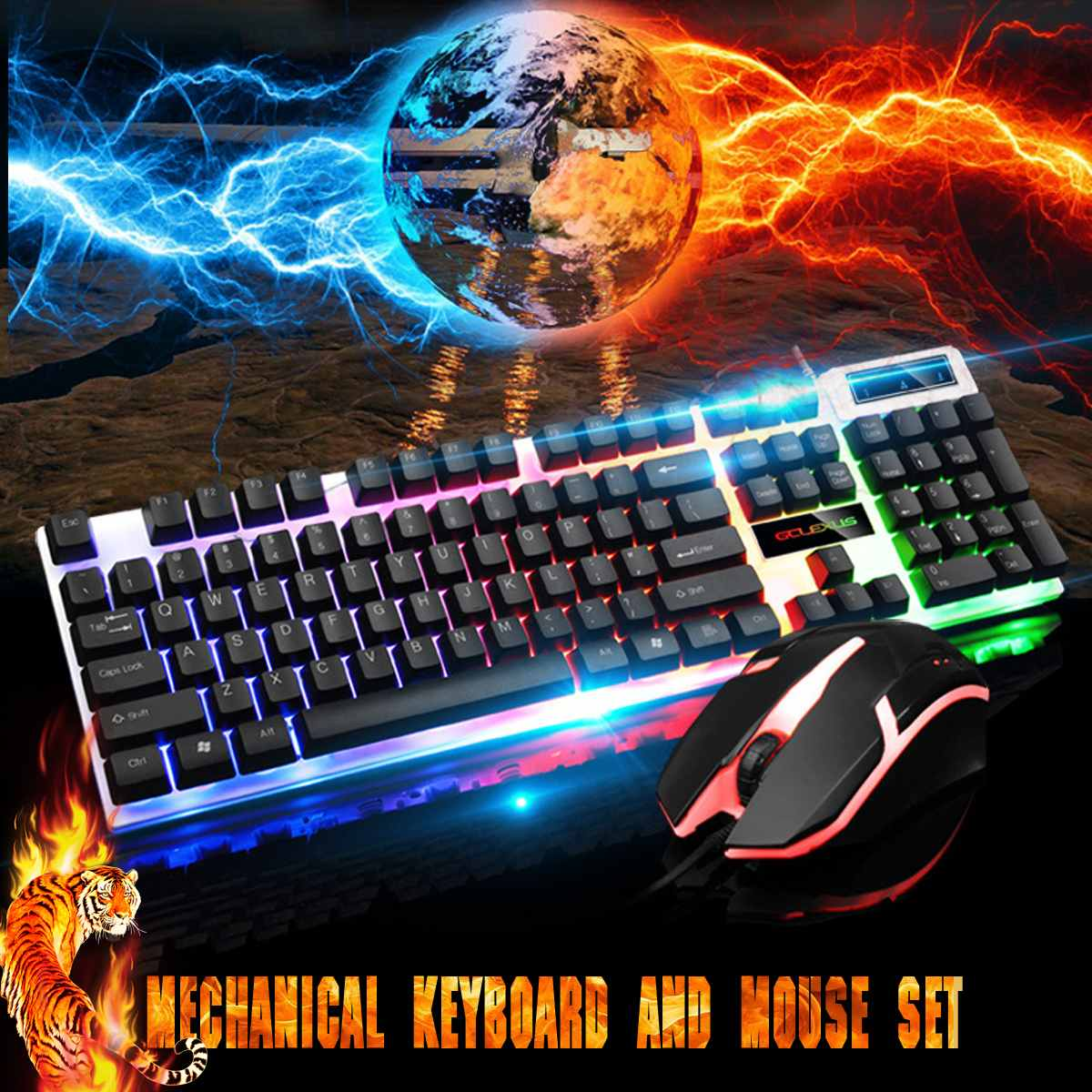 104 Keys USB Wired Keyboard Mouse Combo Set Rainbow Light For Notebook Laptop Desktop Gaming PC Office Supplies Mices