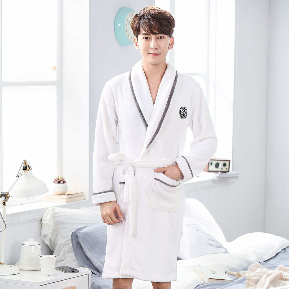Men Winter Kimono Gown Sexy White Coral Fleece Sleepwear Nightgown Intimate Lingerie Flannel Home Clothing Warm Bathrobe