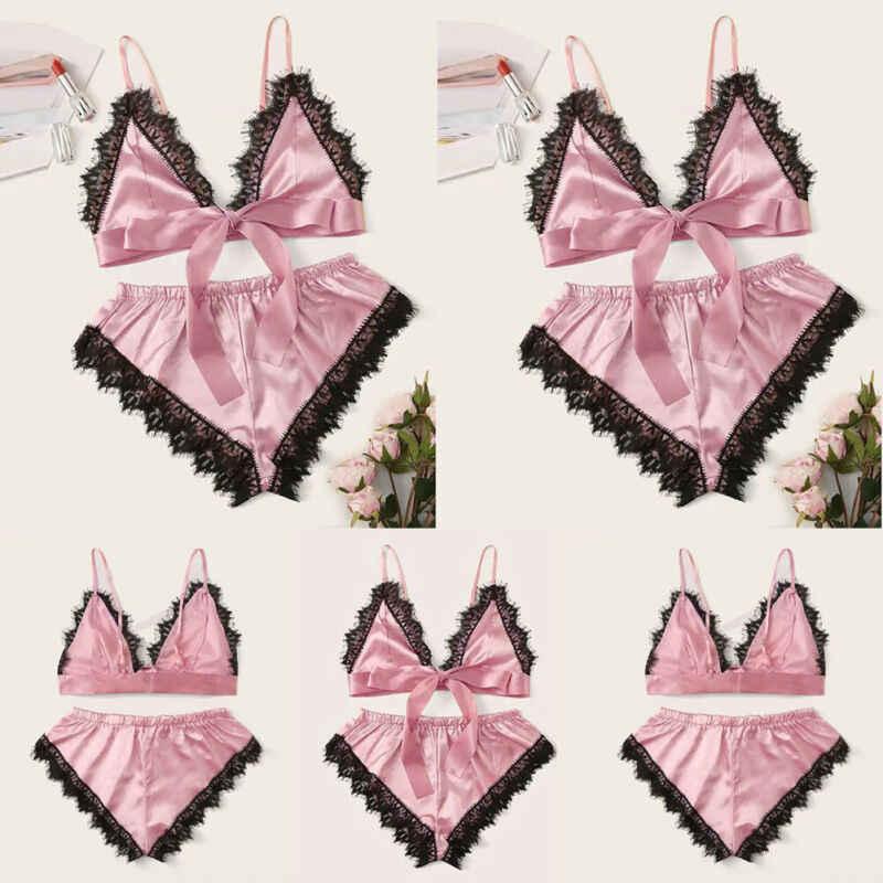 Brand New Mulheres Lace Pijamas Pijama De Cetim Conjunto Bandagem Camis Tops Shorts Meninas Sexy Pink Pijamas Camisola Roupa Interior