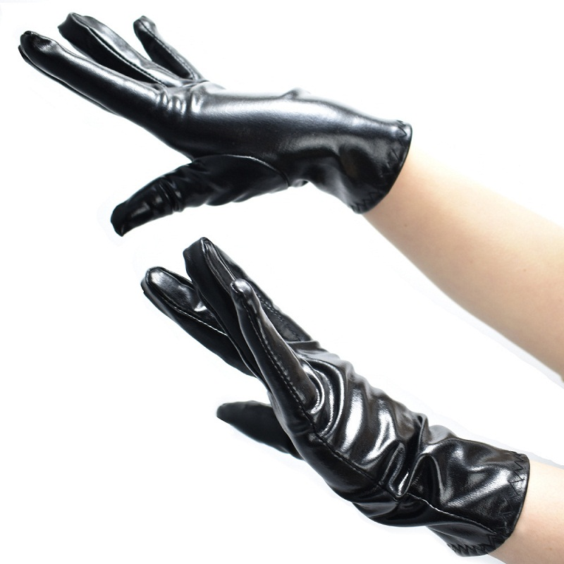 Sexy Black Finger Mittens Shiny Metallic Unisex Spandex Short Evening Gloves Fancy Flapper Wrist Party Gloves
