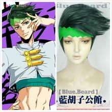 New JoJos Bizarre Adventure Rohan Kishibe Cosplay Wig Short Dark Green Heat Resistant Synthetic Hair Wigs + Wig Cap