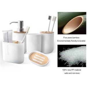 Image 2 - 6 Bằng Tre Phòng Tắm Bộ Bàn Chải Vệ Sinh Giá Treo Bàn Chải Đánh Răng Ly Xà Bông Xả Dưỡng Hộp Đựng Phụ Kiện Phòng Tắm