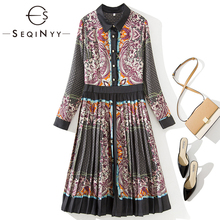 SEQINYY Vintage Dress 2020 Spring Autumn New Fashion Design Flowers Printed Pleated Knee Elegant Women