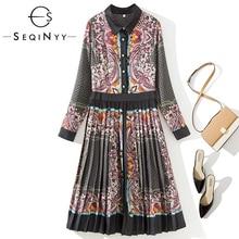 SEQINYY Vintage Dress 2020 Spring Autumn New Fashion Design Flowers Printed Pleated Knee Elegant Women