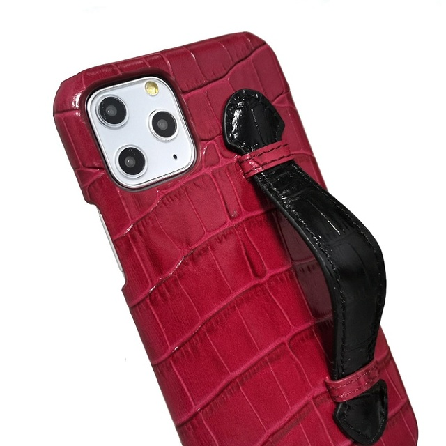 Genuine leather hand strap holder funda case for iPhone 11 12 Pro Max ProMax phone cover luxury crocodile thin hard cases Maroon 4