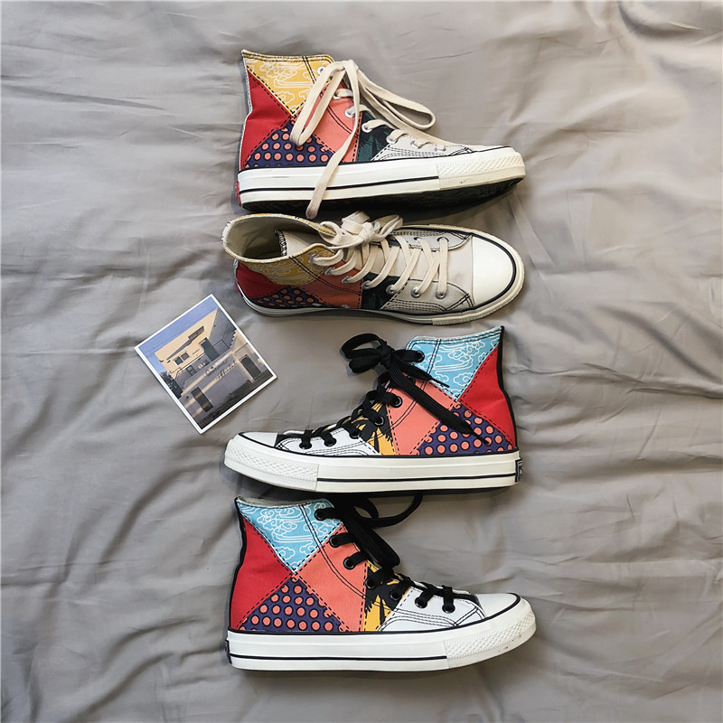 National style high canvas shoes skateboarding shoe men Korean wild  retro women couple models