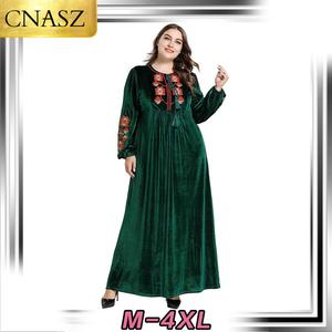 Latest Muslim Dress Dubai Style Islamic Turkey Plus Size Women's Middle East Embroidered Skirt Morocan Kimono Pakistan Fashion
