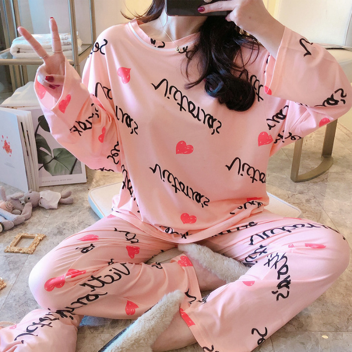 Spring And Autumn Pajamas Women's Autumn Long Sleeve Loose-Fit Korean-style Cute Printed Set Send Cloth Bag 170G Qmilch M -Xxl