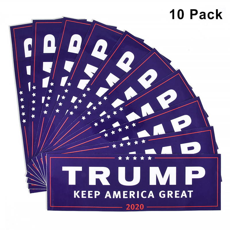 10Pcs Universal Donald Trump For President 2020 Bumper Sticker Keep Make America Great Decal for Car Styling