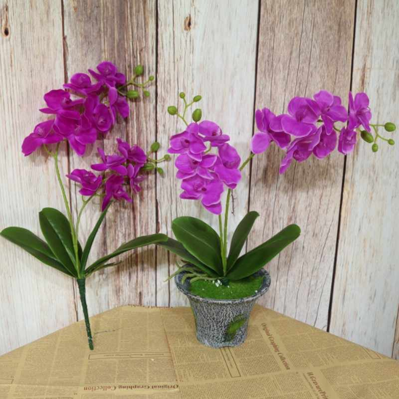 2 De Vork Kunstmatige Phalaenopsis Bloem Real Touch Latex Vlinder Orchidee Flores Met Bladeren Wedding Home Office Decoratie