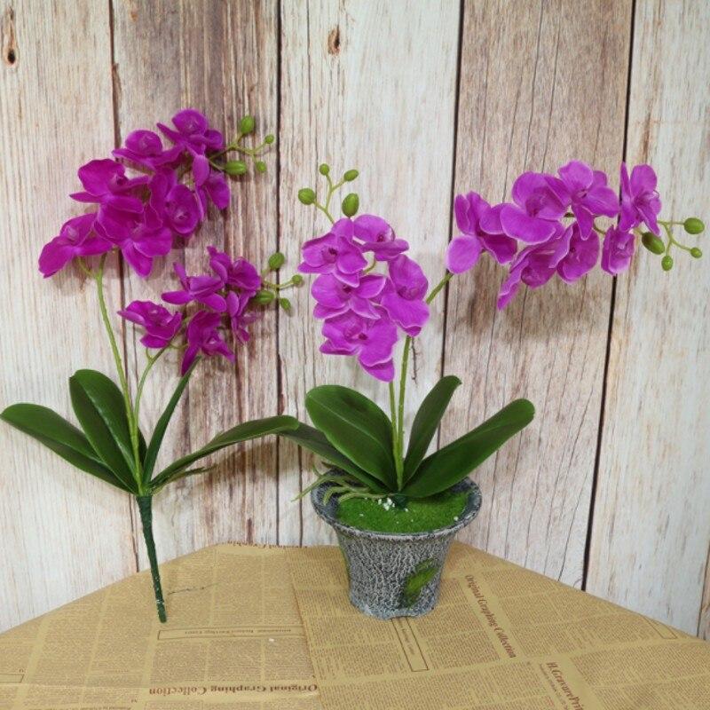 2 вилка искусственный цветок фаленопсиса Real Touch латексная бабочка Орхидея цветы с листьями свадебное украшение для дома и офиса