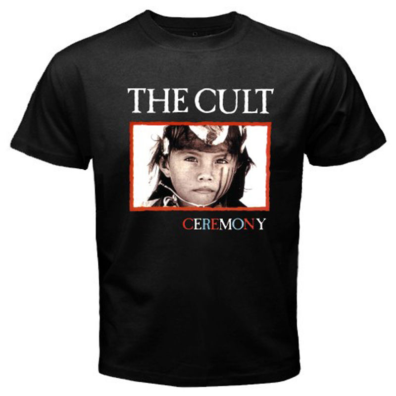 New The Cult Ceremony Hard Rock Band Men's White Black T-Shirt Size S To 2XL 100% Cotton Short Sleeve Summer T Shirt image