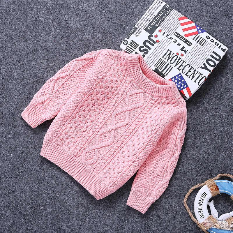 가을과 겨울 플러스 벨벳 두꺼운 트위스트 남성과 여성을위한 아동 의류 스웨터 아기 스웨터 솔리드 컬러 풀 오버 c