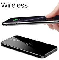 Sem fio 30000 mah power bank dupla tela espelho usb carregador sem fio powerbank bateria externa para iphone8 x samsung|Baterias Externas|   -