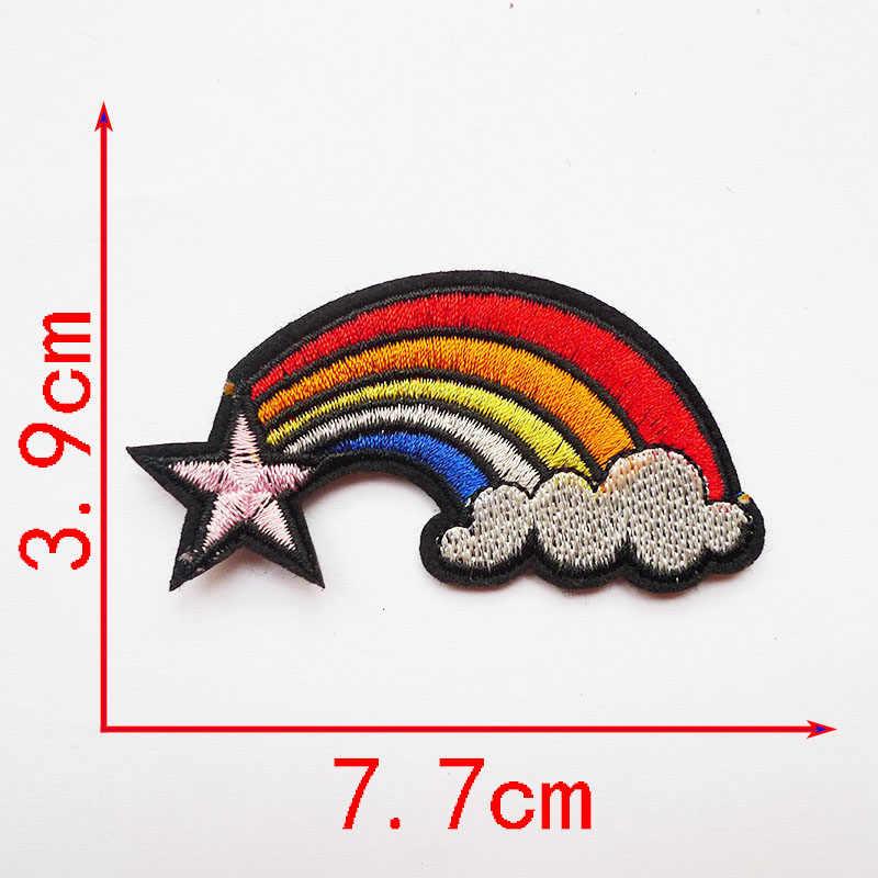 1Pcs SMILE Rainbow เกล็ดหิมะ Anchor เชอร์รี่ปักเหล็กบนแพทช์ป้ายสำหรับเสื้อผ้ากางเกงยีนส์ appliqued อุปกรณ์เย็บผ้า