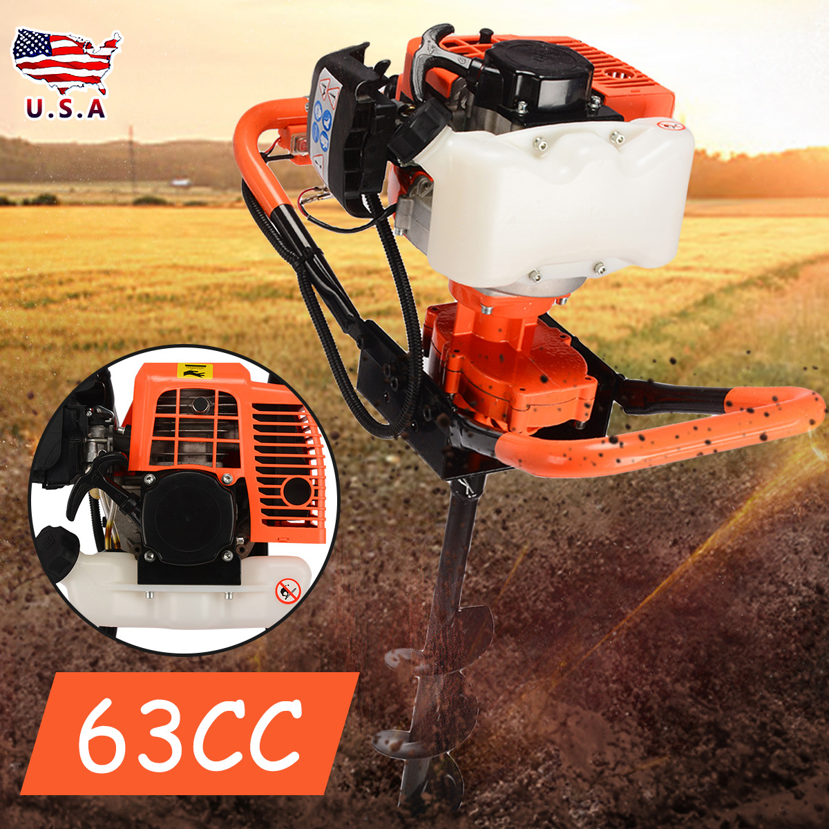 63cc Petrol Post Hole Digger Tool+ Earth Auger Drill Bit For Garden Farm Ground Drill Machine Power Tools Accessories