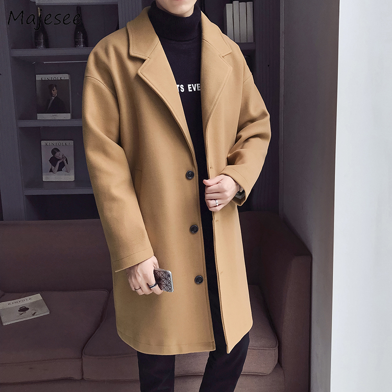Men Coat Winter Clothes Harajuku High Quality Novelty Plus Size Loose Mens Overcoats Single Breasted Pockets Printed Wool Long