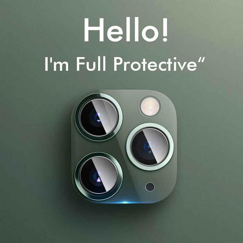 Funda protectora completa para cámara IPhone 11 Pro X XR XS Max 8 7 6s Plus carcasa metálica de lujo Protector de lente película de vidrio