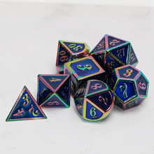 Metal Dnd Dice Sets Dungeons And Dragon D&D MTG RPG Polyhedral Role Playing Purple Rainbow Dice Gift 7PCS D20 D12 D10 D8 D6 D4