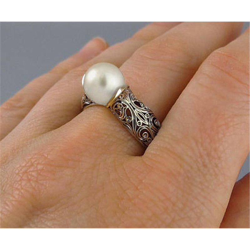 Fashion Imitation Pearl Ring Jewelry Elegant Vintage Pattern Wedding Ring for Women Accessories Party Women's Rings 2