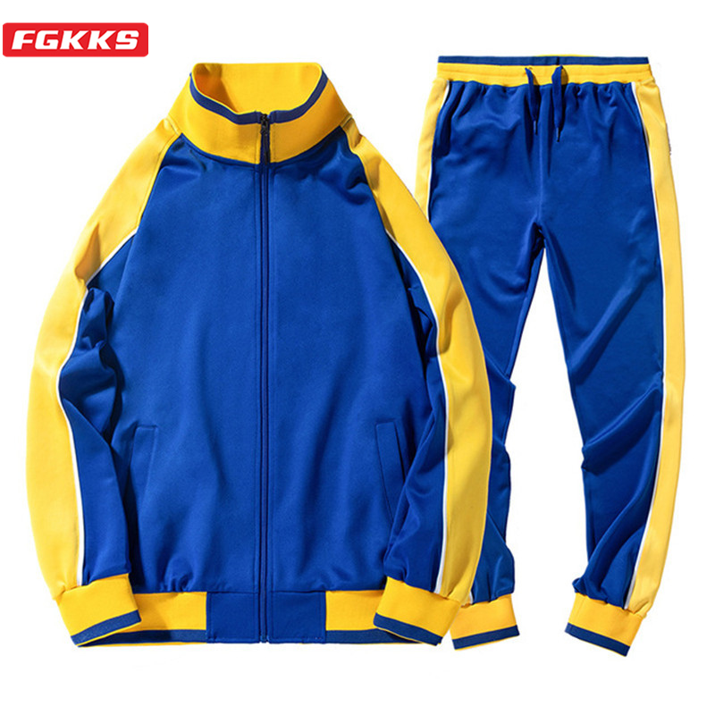 FGKKS Brand Men Set Tracksuit Fashion High Street Style Men's High Quality Hit Color Tracksuit Hip Hop Splice Male Sets