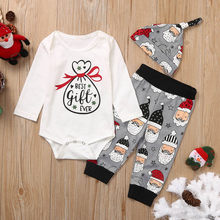 Christmas Outfit Toddler Boy Clothes Christmas Santa Cartoon Romper Pants Outfits Kids Winter Clothes Cotton Full Sleeve(China)