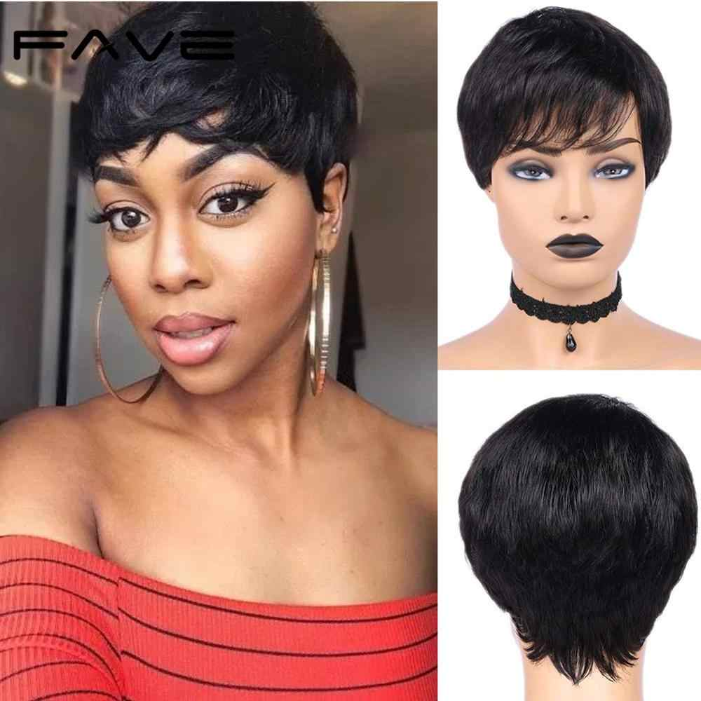 Fave Pixie Cut Wig Short Human Hair Wig 150 Brazilian Remy Straight Wig Natural Black With Bangs Mature Capable Hairstyle Wig Full Machine Wigs Aliexpress