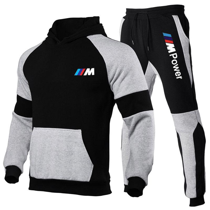 2021 New 2 Pieces of BMW Men\'s Sportswear Wwith Hood + Standard Pants Hooded Sweatshirt Men\'s Casual Wear S-3XL